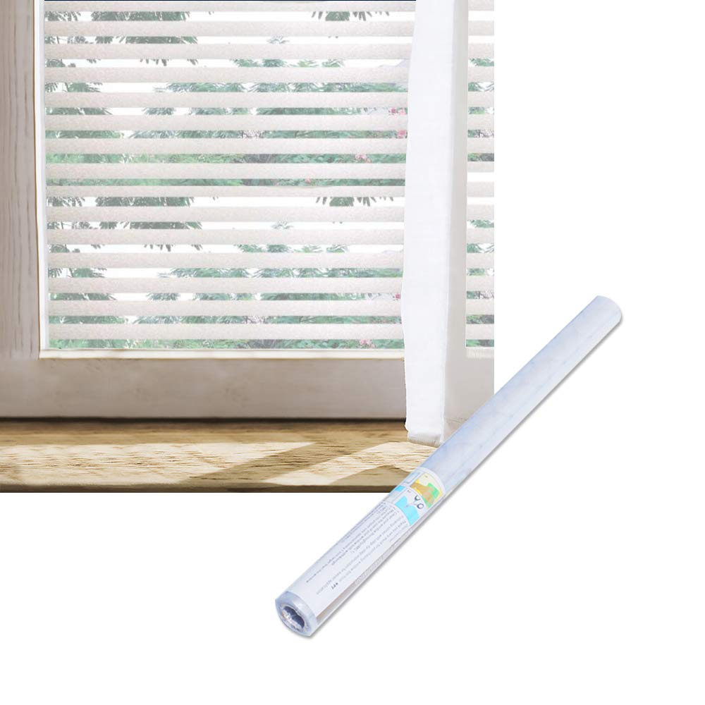 Wopeite Frosted Stripe Window Film 35.4 inches by 78.7inches Window Cling Stained Glass Decorative Films for Meeting Room Home Office Meeting Rooms Glass Window Doors