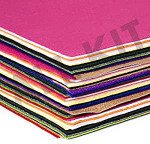 Edukit Acrylic Felt - Jumbo Pack of 15 Sheets - 9 X 12 Inches - 15 Assorted Colours (15 PACK)