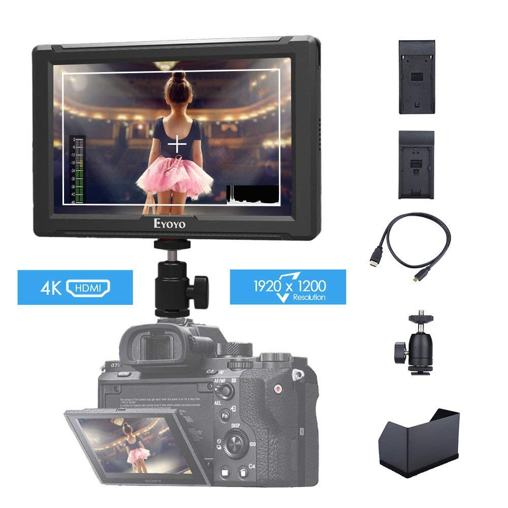 Eyoyo E7S 7 inch On Camera Field Monitor 1920x1200 IPS Display Supports 4K HDMI Input Loop Output Camera-top Screen Compatible with Sony Canon DSLR Camera F970 LP-E6 Battery Plate by Eyoyo