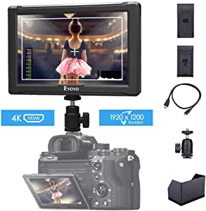 Eyoyo E7S 7 Inch On Camera Field Monitor 1920x1200 IPS Display Supports 4K HDMI Input Loop Output Camera-top Screen Compatible Sony Canon DSLR Camera with F970 LP-E6 Battery Plate