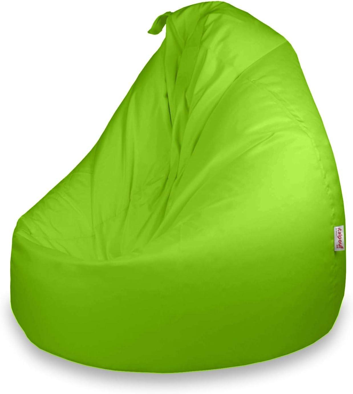 Italpouf - Puff Pera Impermeable Poliéster XXL 100 x 130 cm 500l con Funda Extraible Outdoor Exterior / Indoor Muy Resistente Moldeable con Relleno, 25 Colores (Verde ácido): Amazon.es: Hogar