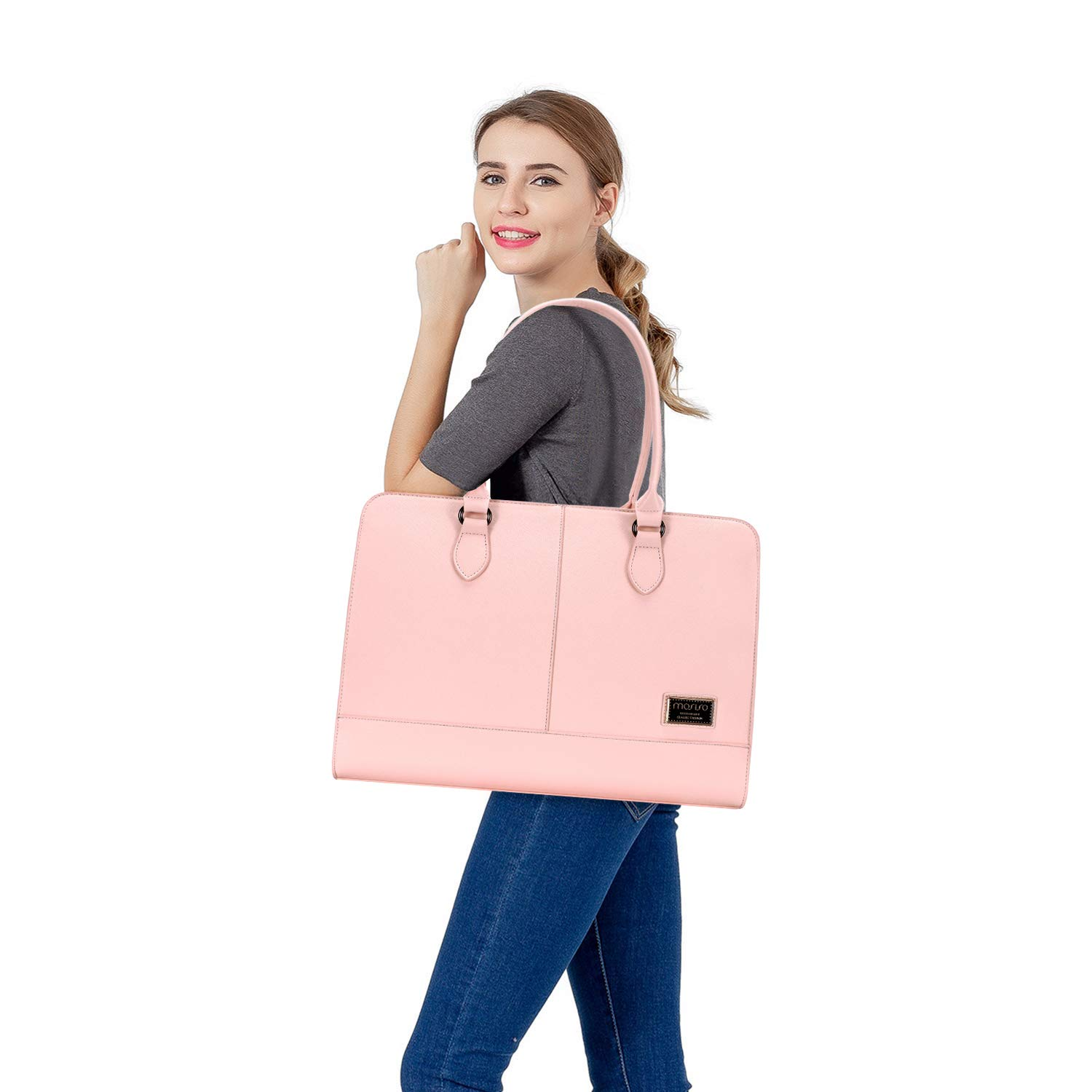 Purple Up to 15.6 Inch Briefcase for Women,PU Leather Large Capacity with 3 Layer Compartments Business Work Travel Tote Shoulder Handbag Compatible MacBook /& Notebook MOSISO Womens Laptop Bag