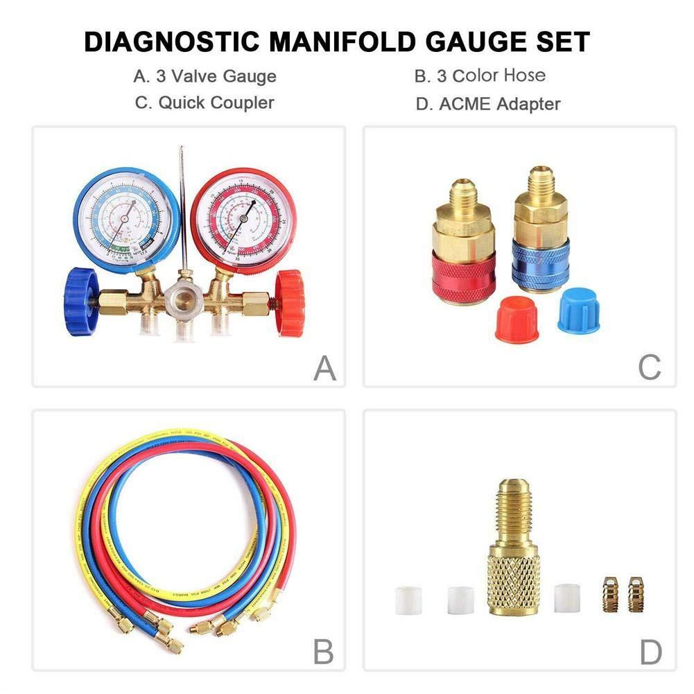 Lancei AC Diagnose Manifold Manometer Set Klimaanlage Werkzeuge f/ür R134A R12 R22 R502 K/ältemittel Vakuumpumpe Evakuierung Heimgebrauch