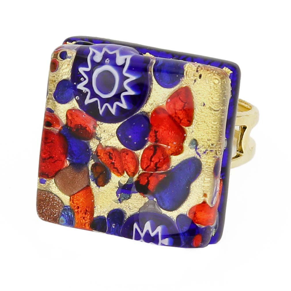 GlassOfVenice Murano Glass Venetian Reflections Square Adjustable Ring - Blue Red