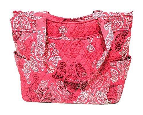 Vera Bradley Pleated Tote Zip Top Bag Stamped Paisley