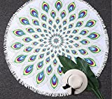 New Popular Round Roundie Peacock feather Mandala Round Roundie Beach Throw Tapestry Hippy Boho Yoga Mat Picnic Mat Table Throw Round Tapestry wall hanging 150cm By Popular Handicrafts