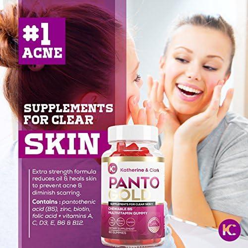 Amazon Com Vitamin B5 Pantothenic Acid Gummies For Acne Panto Gold Hair Skin Nails Biotin Zinc Folic Acid Chewable Non Gmo Gluten Free Vegetarian For Body Oily Skin 60ct Health