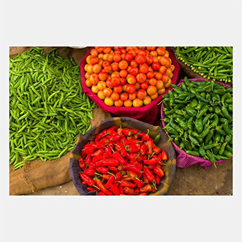 eFrame Fine Art | Vegetables at Street Market Jaipur, India Food Kitchen Art by Blaine Harrington 8'' x 12'' Print Wall Art for Wall or Home Decor (Black, Brown, White Frame or No Frame) by eFrame (Image #1)