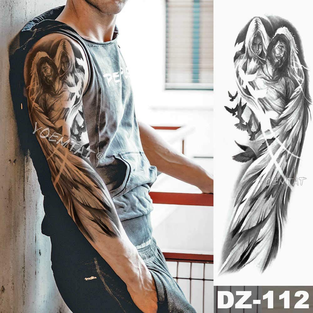 Tzxdbh 3pcs Large Arm Sleeve Tattoo Lion Crown King Rose