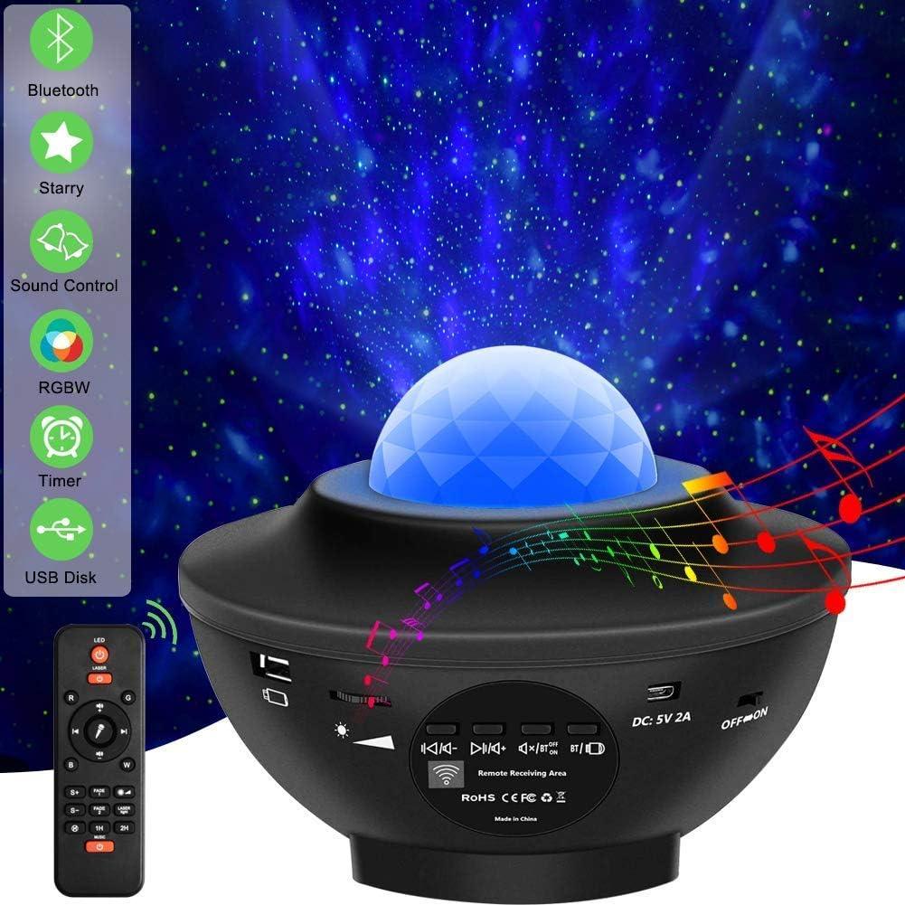 drehende Kugel Musik Steuerung f/ür Party mit Fernbedienung Timer verstellbar Sternenhimmel Projektor Stern Effekt Lampe Multifunktion Ozeanwelleneffekt Nachtlicht Kinder mit Bluetooth Lautsprecher