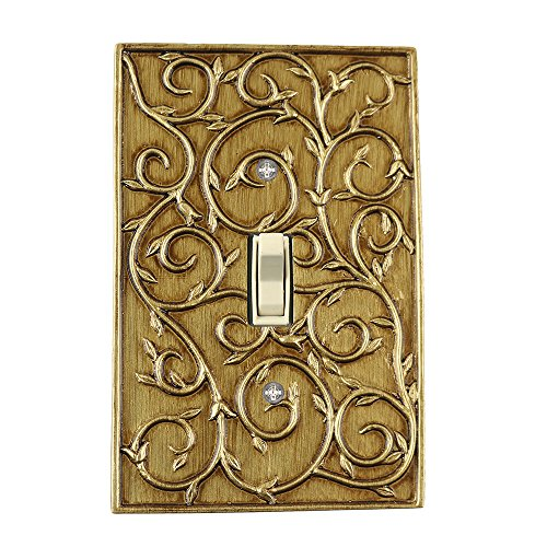 Meriville French Scroll 1 Toggle Wallplate, Single Switch Electrical Cover Plate, Antique Gold