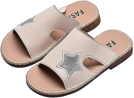 Soft Leather, Open Toe, Flat Heel