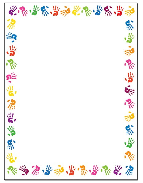 Childrens Hands Border Stationery - 8.5 x 11-60 Letterhead Sheets -  ColorfulBorder Letterhead (Hands)
