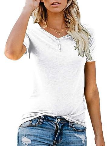 b3b3d6b6ca9ad0 ANIXAY Women s Long Short Sleeve Henley Button up T Shirt Casual Basic Tops  Blouse