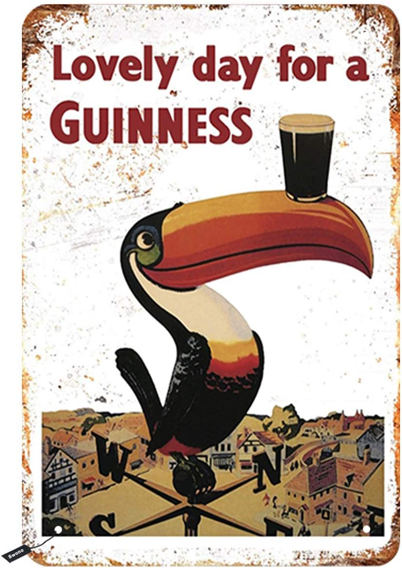 Swono Beer Poster Tin Signs,Long Billed Parrot Hold Beer Lovely Day for a Guinness Vintage Metal Tin Sign for Men Women,Wall Decor for Bars,Restaurants,Cafes Pubs,12x8 Inch