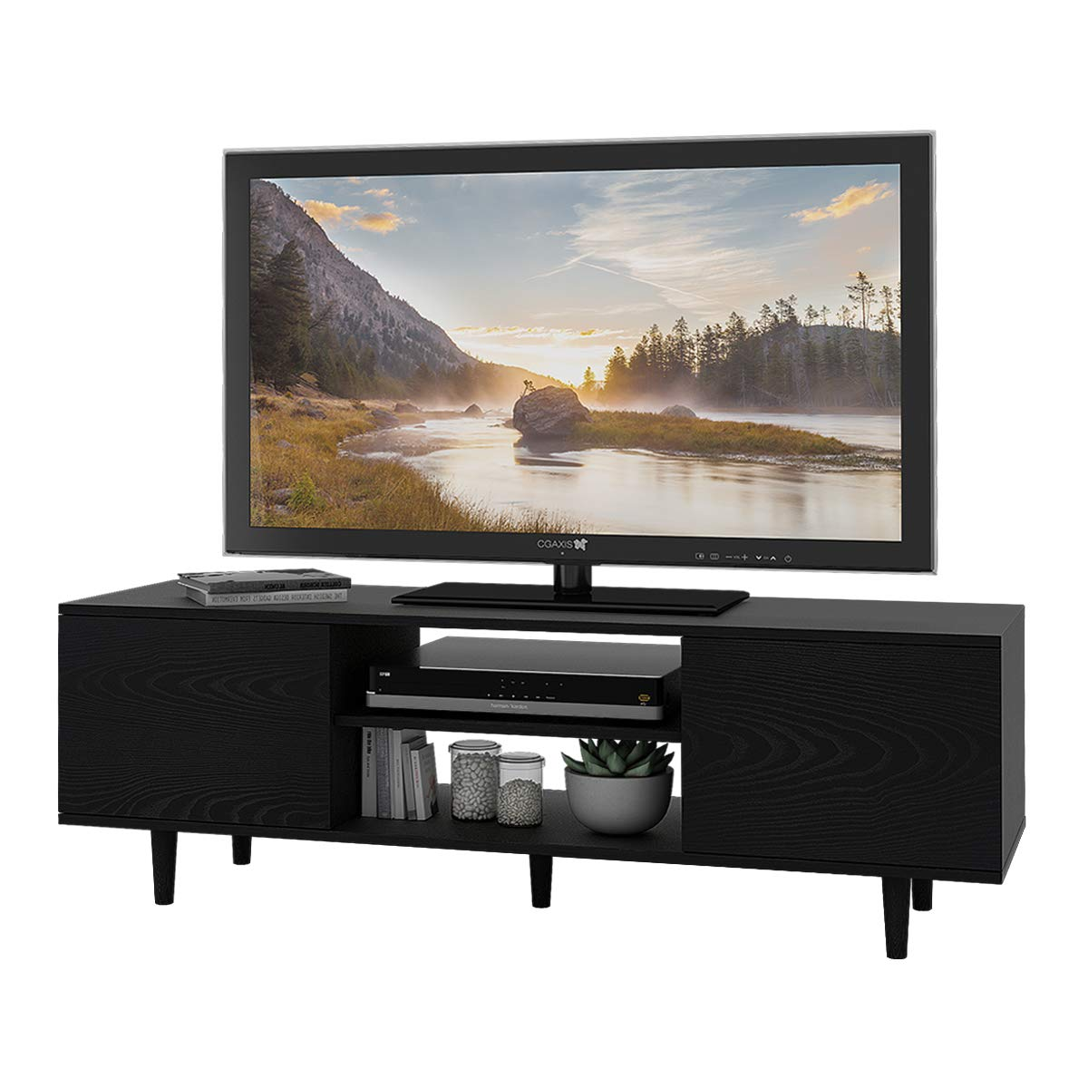 """WLIVE Mid-Century Modern TV Stand for 55"""" TV in Living Room Entertainment Center"""