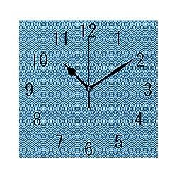 YABABY Square Wall Clock Battery Operated Quartz Analog Quiet Desk 8 Inch Clock, Bullseye Circles with Rectangular Geometric Illustration Monochrome
