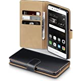 Huawei P9 Lite Case - Terrapin Huawei P9 Lite Leather Wallet Case - Card Slots - Bill Compartment - Magnetic Closure - Premium PU Leather - Black with Tan Interior