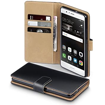 new arrival 39eca a33a7 TERRAPIN, Compatible with Huawei P9 Lite Case, Leather Wallet Flip Cover -  Black with Tan Interior