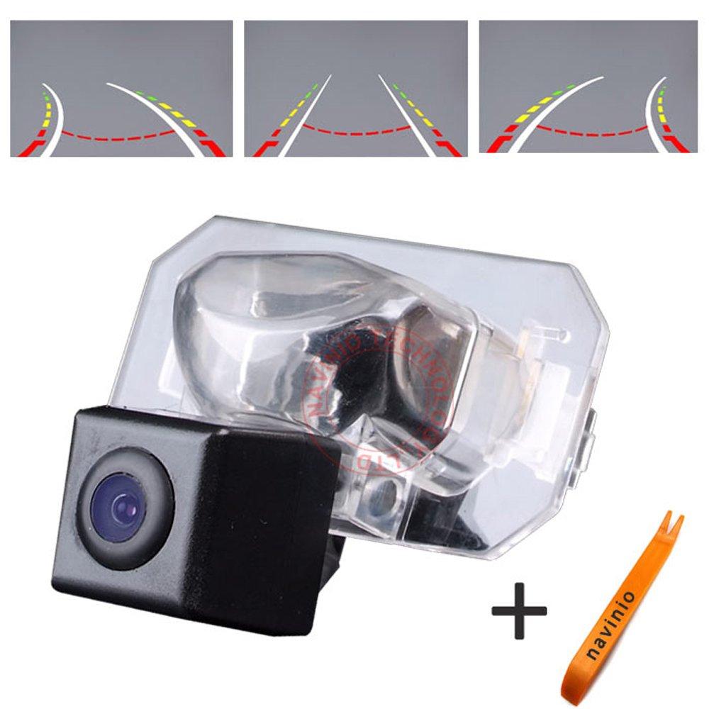 Navinio 170 ° Visualización Invertir la pista línea de la cámara de la regla con el volante en movimiento trasero copia de seguridad de la cámara de visión nocturna HD CCD para Honda CRV/Accord/ CITY/ FIT/ Odyssey/ Ac