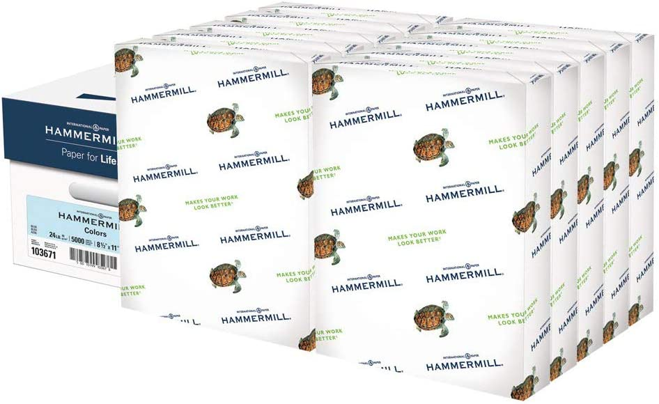 Hammermill Blue Colored 24lb Copy Paper, 8.5x11, 10 Ream Case, 5,000 Total Sheets, Made in USA, Sustainably Sourced From American Family Tree Farms, Acid Free, Pastel Printer Paper, 103671C