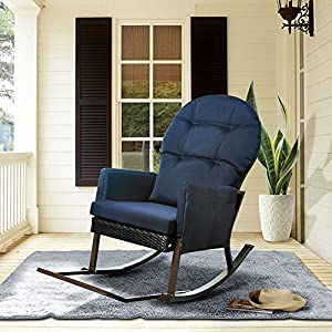 Outdoor Wicker Rocking Chair with Foot Rest, Outdoor Glider Recliner Patio Armchair Lounge Chair, All Weather Porch Deck Chair, UV Resistant and Anti-Rust Aluminum Frame(Navy Blue)