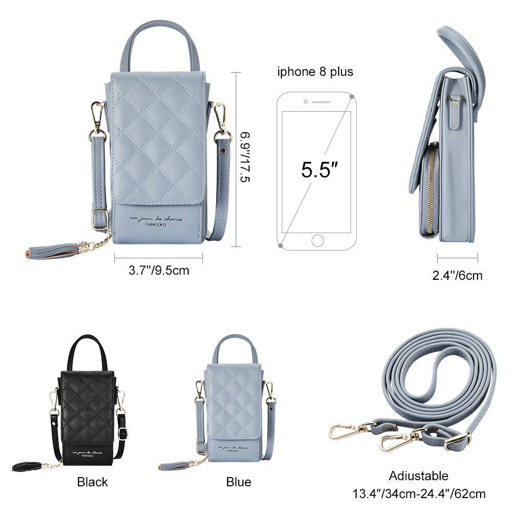 VBIGER Handytasche zum Umhängen umhängetasche Leder pu kleine Geldbörse Damen Handytasche Brieftasche Tasche (Blau)