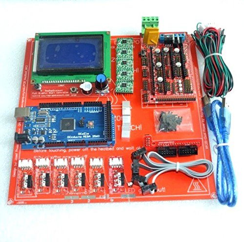 KINWAT Reprap Ramps 1.4 Kit with Mega 2560 r3 + Heatbed mk2b + 12864 LCD Controller + A4988 Driver + Endstops + Cables for 3D Printer by KINWAT