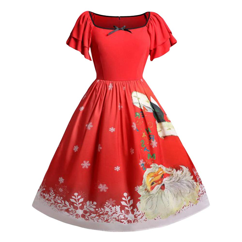 Christmas Womens Dress, Girl Women Christmas Plus Size Bow Santa Claus Print Vintage Dress Evening Party Dresses