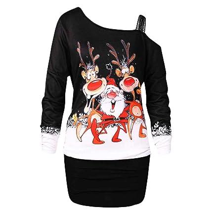 TAOtTAO Vestido de Fiesta para Mujer, con Estampado navideño ...