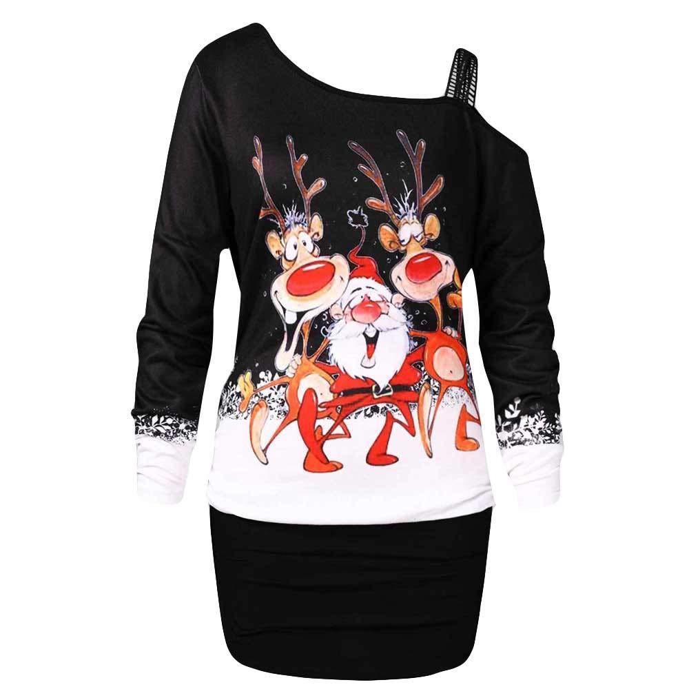 Blusa De Navidad para Mujer, Invierno Escocé S con Hombros Descubiertos Camiseta De Manga Larga con Estampado De Alce A Cuadros De Navidad para Mujer Sudadera Naturazy Naturazy Regalo de Navidad