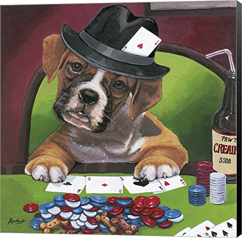 Poker Dogs 2 by Jenny Newland Canvas Art Wall Picture, Museum Wrapped with Black Sides, 12 x 12 inches Dogs Playing Cards Picture