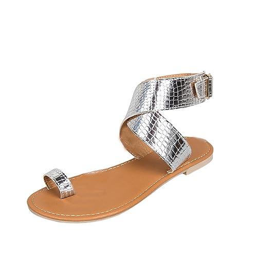 945581cb Sandalias Planas Mujer, Modaworld Sandalias Plataforma Mujer Verano 2019  Tallas Grandes en Oferta Chanclas Bajas Planas Sandalias de Playa Zapatos  ...