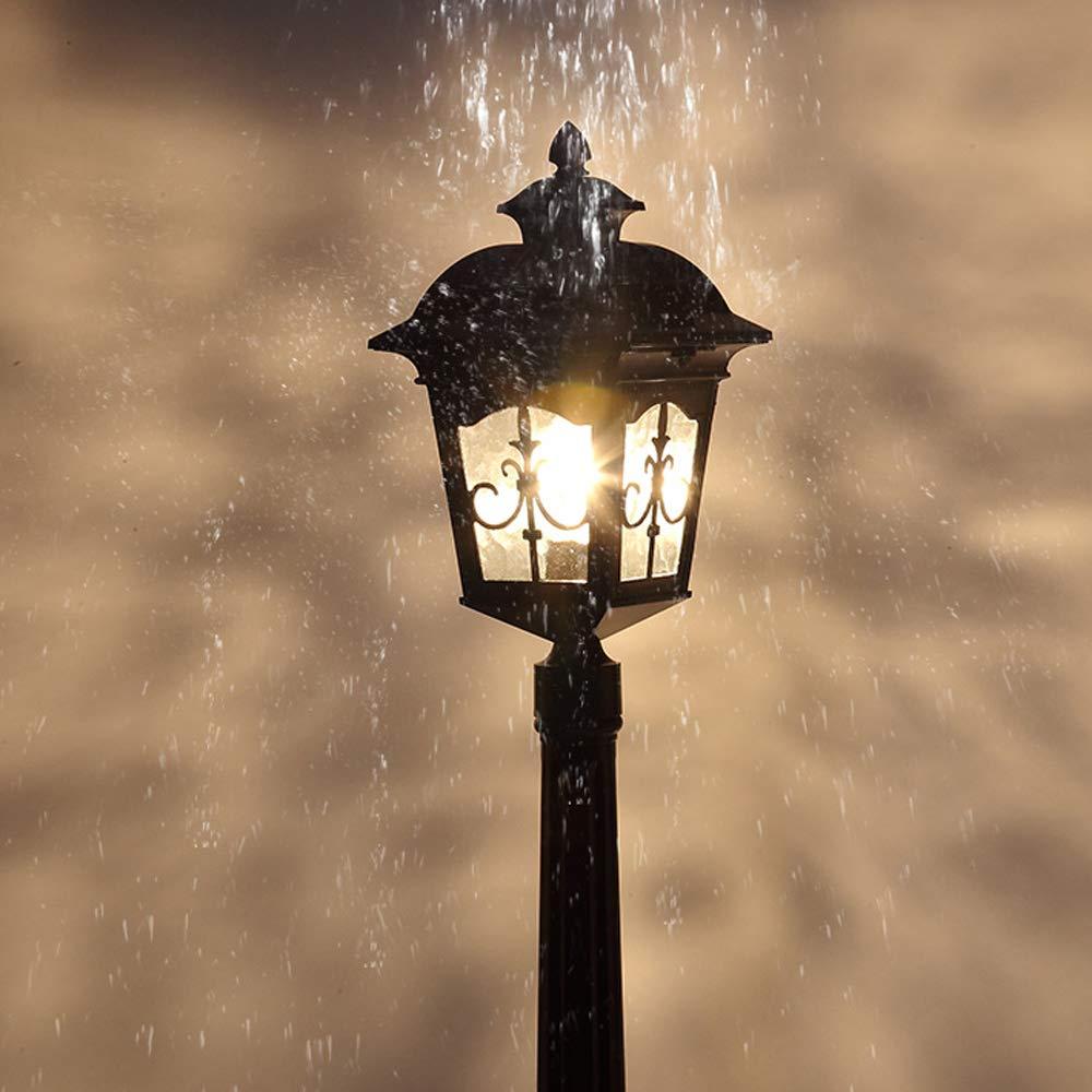 HDMY Lampada da terra in alluminio Victoria Arrow Lampada da colonna da giardino Paesaggio vintage Lanterna in vetro Lampione di lusso classico impermeabile Lampada da giardino (Dimensione   210cm)