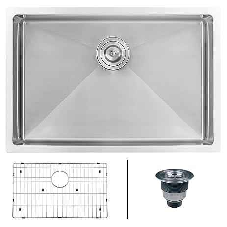 Ruvati 28 Inch Undermount 16 Gauge Tight Radius Stainless Steel Kitchen Sink  Single Bowl