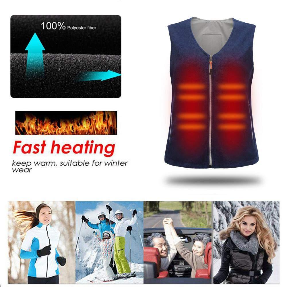 Adjustable Charging Heated Jacket Warmer Underwear Healthy Waistcoat Back Pain Relief Vest By Power Bank Fit For Men//Women Waterproof Far Infrared Temperature Heating Vest Dumcuw USB Heated Vest