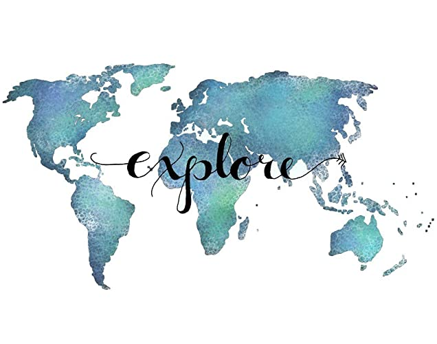 Amazon explore poster world map poster 24x36 inches teal wall explore poster world map poster 24x36 inches teal wall art travel poster inspirational quote poster gumiabroncs Gallery