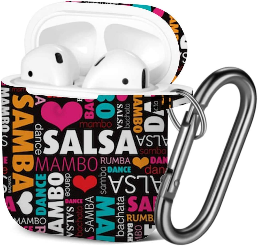 Shockproof Soft TPU Gel Case Cover with Keychain Carabiner for Apple AirPods Salsa Other Dance Type Compatible with AirPods 2 and 1