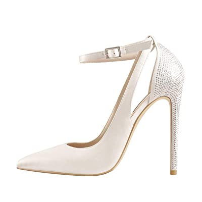Onlymaker Women's Pointed Toe One Band Stiletto Heel Cut Out Pumps Rhinestones Thin Heels Dress Sandals | Heeled Sandals
