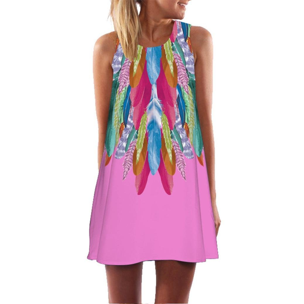 vermers Women Mini Dress Loose Summer Vintage Sleeveless 3D Floral Print Boho Tank Short (XL, Pink) by vermers (Image #1)
