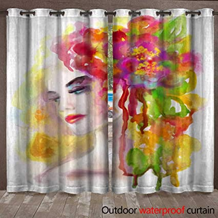 6109966584 Image Unavailable. Image not available for. Color  BlountDecor Outdoor  Waterproof Curtain Spring Woman Abstract Portrait Beautiful Watercolor ...