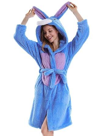 20e0817f95775 OCHENTA Unisexe Femme Peignoirs de Bain Animal Cosplay Mi-Long avec Capuche  Robe de Chambre