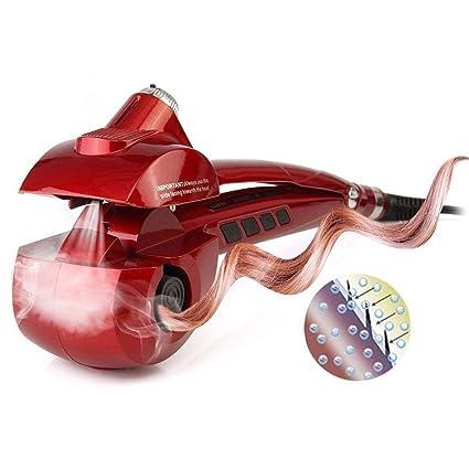 Beautigo Pinzas Rizador automático de vapor con calentador cerámico y pantalla digital LED (Rojo)