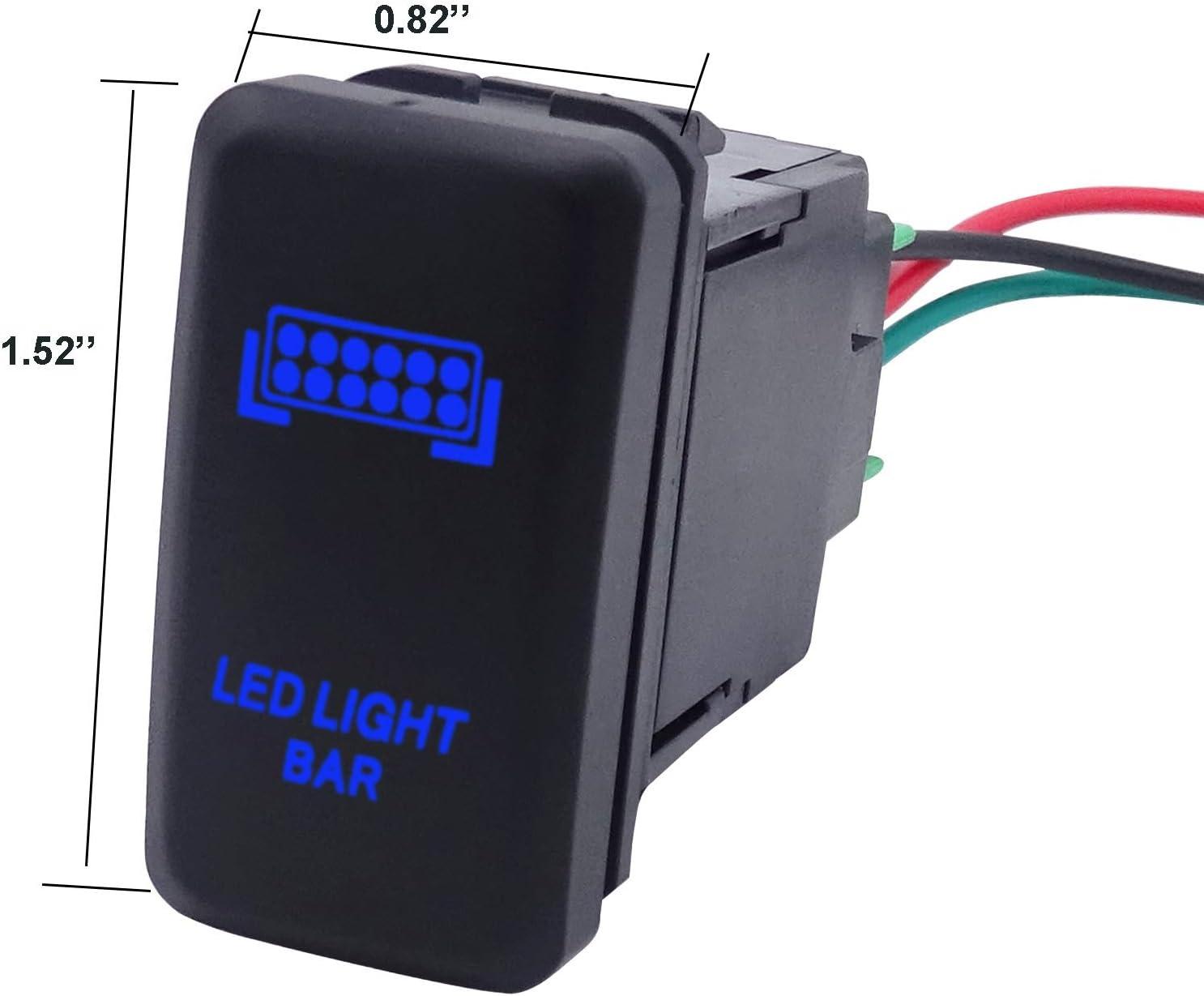 LED Light Push Switch Blue Backlit On//Off for 2010-2019 Toyota Tacoma Tundra 4Runner-Rear Light Symbol