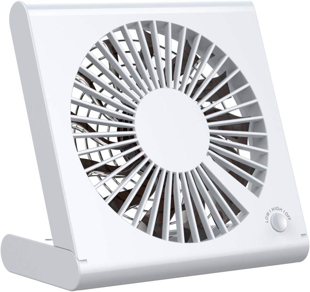 OLTA Mini Ventilador USB Silencioso Ajustable, Ventilador Portátil Batería Recargable, para Oficina/Hogar/Viajar/Acampar (Blanco)