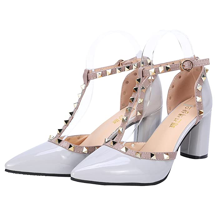 e72bcf8dea Tanpell Women's Pointed Toe Studded Strappy High Heels Rivet Ankle Strap  Pumps