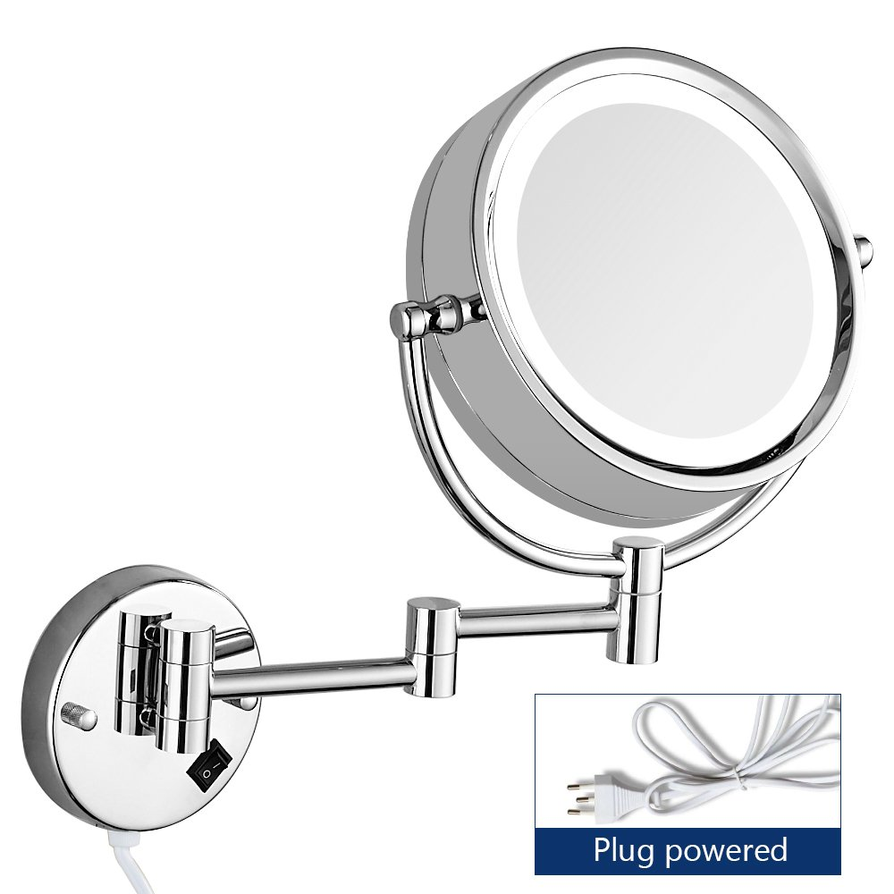 Gecious 10X Magnification Wall Mount Makeup Mirror with Light/LED Lighted/8 inches/Double Sided/Powered by Plug/Chrome Finished/Oval Base/360 Swivel