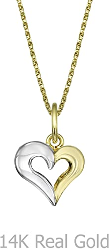 18k Solid Yellow Gold Heart Shaped Pendant for Necklace for Children and Girls