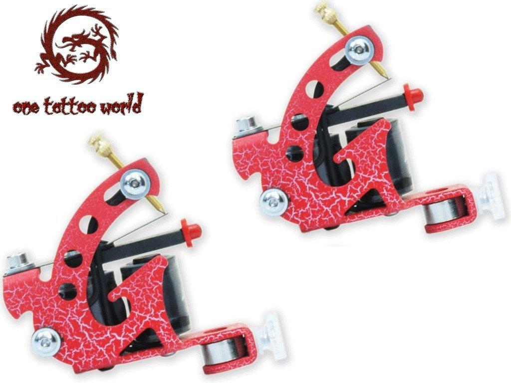 1TattooWorld (2) x Professional Cast Iron 10 Wrap Aluminum Coils Tattoo Machine Liner & Shader, Red , OTW-M218-6