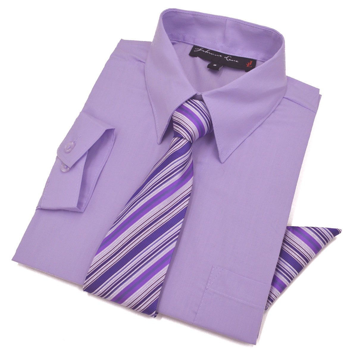 Boys Dress Shirt with Tie and Handkerchief #JL26 (3T, Lilac)